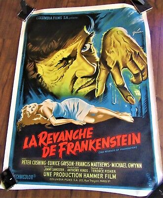 REVENGE OF FRANKENSTEIN Rare French 47x63 Hammer Horror Peter Cushing LINENBACK