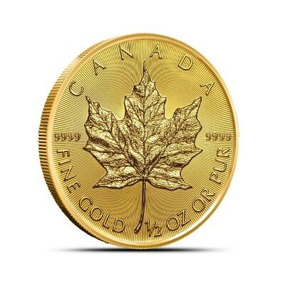 2019 Canada 1/2 Oz $25 .9999 Fine Gold Maple Leaf Coin - Gem BU