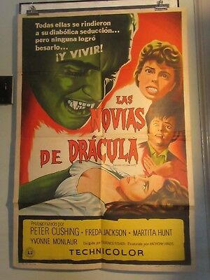 BRIDES OF DRACULA Rare Argentine 1-sheet, Hammer Horror, Peter Cushing