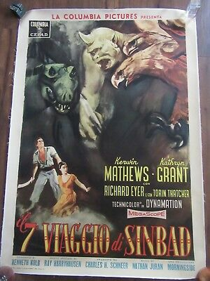 7th VOYAGE OF SINBAD Italian 39x55, Ray Harryhausen, Kerwin Matthews LINENBACKED