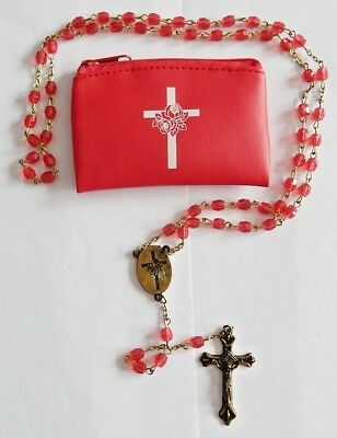 Small Tiny Rosary With Pink Glass Beads And Red Carry Pouch