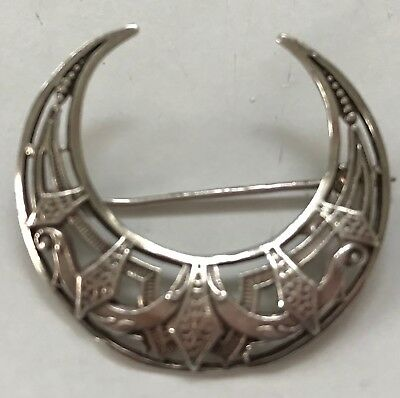 Pretty Sterling SILVER Vintage Crescent BROOCH PIN 3.5cm stamped 925
