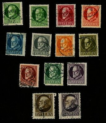 1914-16 Bavaria, Germany Stamps Scott #96, 97, 99, 100 102-110  All:  Used, HR