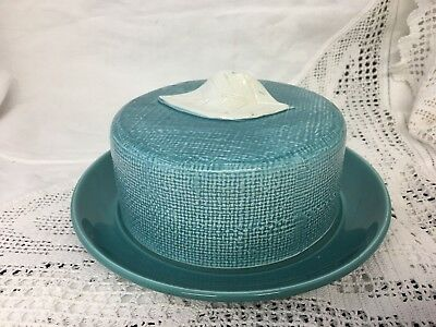 Teal Coloured Covered Butter/ Cheese Dish