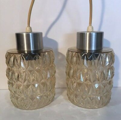 Fabulous Pair Of Vintage Danish Modern Pendant Lights  Mid-Century