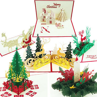 Pop Up Christmas Cards.3d Christmas Cards Gift Set Of 6 Xmas Pop Up Greeting Boxed Holiday Tree Merry