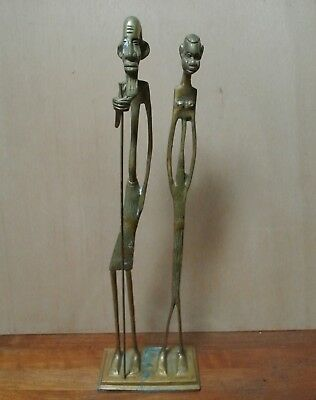 Vintage African Tribal Art Bronze Brass Tall Man Woman Statue Giacometti Style
