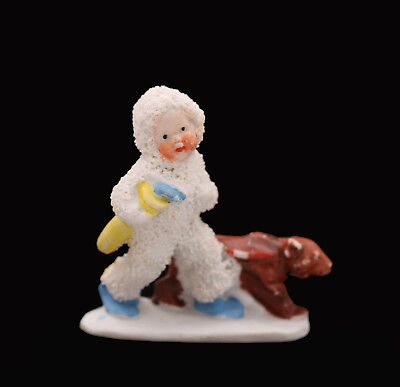 Antique Snow Baby, Snowbabies German Snowbaby With Brown Bear, Golf Clubs