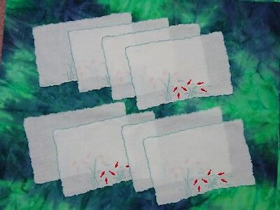 """8 Vintage Cocktail Napkins Marghab """"Under the Sea"""" Red Fish,Blue Embroidery"""