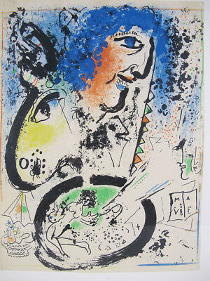 VTG Marc Chagall Self Portrait-Frontispiece Mourlot 282 Lithograph in Color yqz