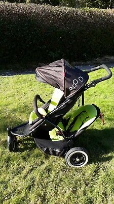 Phil & Teds Dot 2 Double Buggy Push Chair Pram 3wheels +Cosy Toes & Rain cover