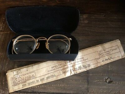 Vintage 1/10 12K GF Eye Glasses w/ Case Army issued 1951 w/paperwork Excellent!