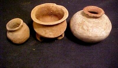3 Small Pre-Columbian Pots , 1 Colored White From 1 3/4 To 3 1/4 Inches Across