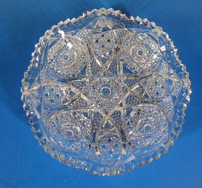 Antique c 1886 ABCG American Brilliant Cut Glass Centerpiece Low Bowl Dish 3 yqz