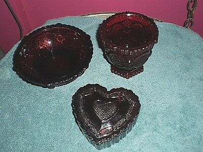 Vintage Avon  Cape Cod 1876 Ruby Red Heart Shape Box-Small Glass-Small Bowl NEW
