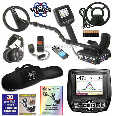"""Whites Spectra V3i Metal Detector With 10"""" DD & 9"""" Concentric Coil+ Carrybag !"""