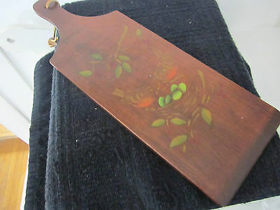 Antique hand painted wood paddle with robbins. Stunning. Signed