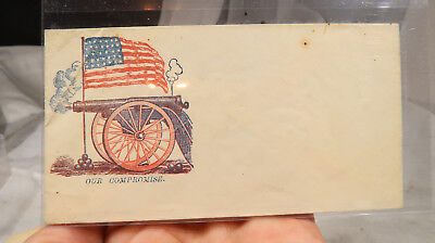 US Civil War Envelope Cover Our Compromise Cannon Flag US