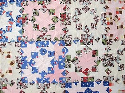 """Vintage Hand Pieced Feed Sack SNOW CRYSTALS, STAR Quilt TOP; 77"""" x 64""""; Good !"""