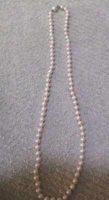 """Vintage Faux Pearl Beaded Necklace  24"""" Long"""