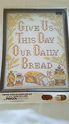 Vtg Paragon Counted Cross Stitch Give Us This Day Our Daily Bread Framed Sampler