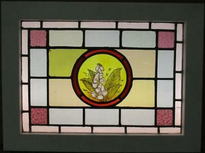 "VICTORIAN ENGLISH LEAD STAIN GLASS WINDOW Hand Painted Flowers 23.75"" x 17.75"""