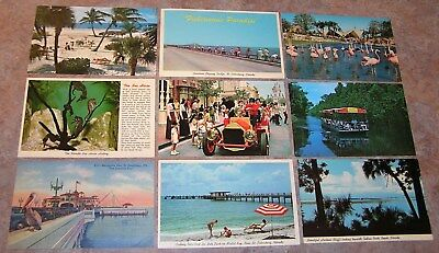 Florida 9 postcard lot Disney St Pete Homosassa Ind. Rocks Beach 1956-1970 vtg