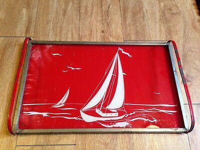 """Vintage Red NAUTICAL Sailboat Design Metal and Glass Serving Tray 11"""" X 18"""""""