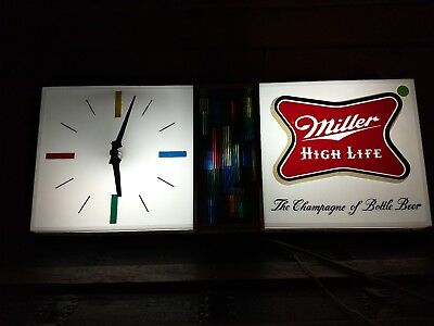 Vintage 1960's Miller High Life Advertising Lighted Clock