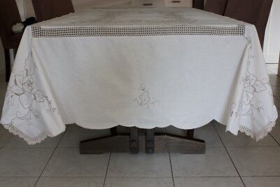 Vintage Tablecloth Cream Cotton Embroidered & Crocheted #23