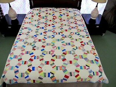 "GRAPHIC Vintage Hand Sewn Feed Sack Cotton HEXIE BLOCK PATCHWORK Quilt 82"" x 72"""