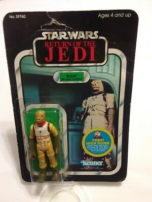 1983 Return of the Jedi Bossk Bounty Hunter 48 Back Open Card Bubble Figure Rare