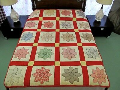 "Vintage Antique Feed Sack Hand Sewn SUNFLOWER APPLIQUE Heavy Quilt; 78"" x 64"""