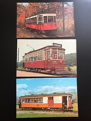 3 Vintage Postcards CT Electric Railway Trolly Museum Unposted