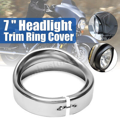 7 inch Headlight Headlamp Trim Ring Protect Guard Cover Cap Chrome For Harley