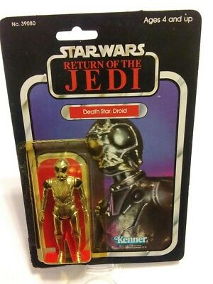 1983 Return of the Jedi Death Star Droid 77 Back Open Card Bubble Figure Footer