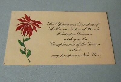 WWI Era Wilmington Delaware Union National Bank Advertising Happy New Year Card