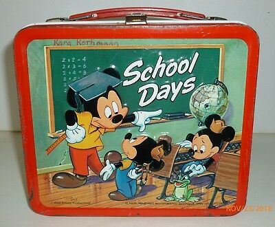 Vintage SCHOOL DAYS metal LUNCH BOX - Walt Disney Productions, Mickey Mouse
