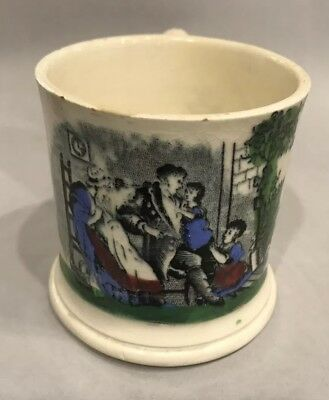 Antique 1800s Transferware Childs Cup Mug Mother Father And Children