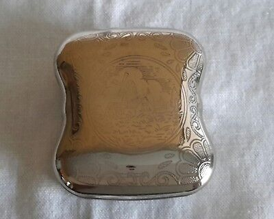 Silver Pill Box with Dutch Windmill Engraving