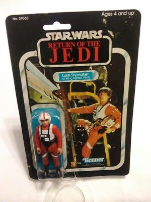 1983 Return of the Jedi Luke X-Wing Pilot 65 Back Open Card Bubble Figure Gun