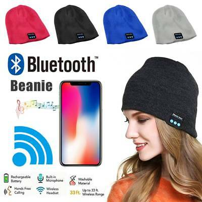 2019 Warm Beanie Hat Wireless Bluetooth Smart Cap Headset Headphone Speaker Mic