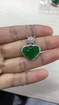 China handcarved green jade heart shape Pendant necklace