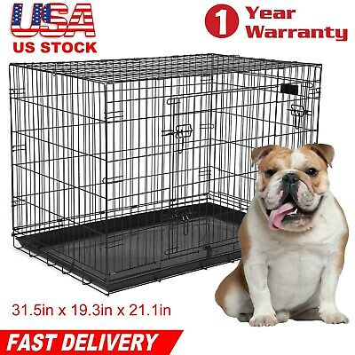 Dog Cage Cozy Pet Puppy Crate Black Home Folding Metal 30 inch Medium Dog Crate