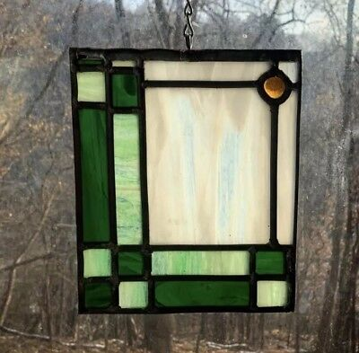 Architectural Salvage Leaded Stained Glass- Ivory, Green Border, Orange Jewel