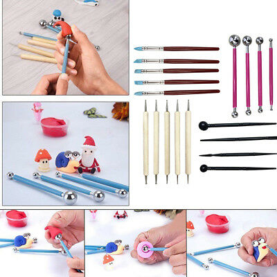 18xBall Stylus Dotting Tools Set Fit Clay Ceramics Pottery Sculpting Carving Kit