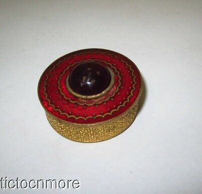 Antique French Guilloche Enamel Red Cabochon Jeweled Powder Mirror Compact