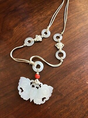 Chinese Antique Super White Jade Pendants Necklace Asian China