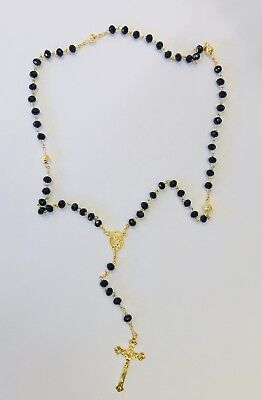 Rosary Of Black Acrylic Beads With Crucifix In Gold