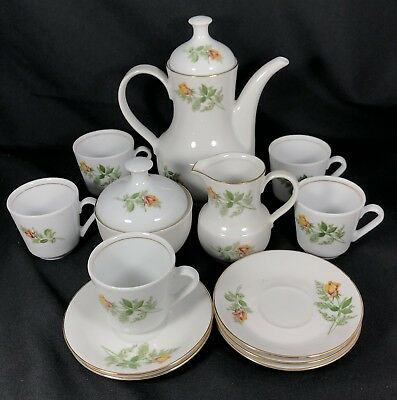 15 Pieces Kahla GDR Child's Tea Set Porcelain East Germany Yellow Rose Floral